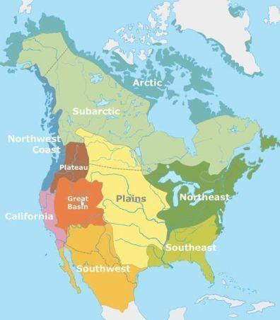 Mapa de las zona de asentamientos de nativos americanos en EE.UU.
