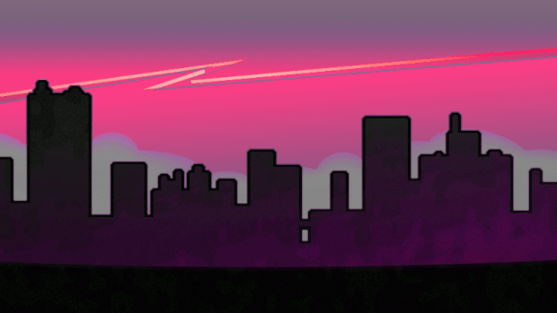 A dark city below a jagged crack in the sky.