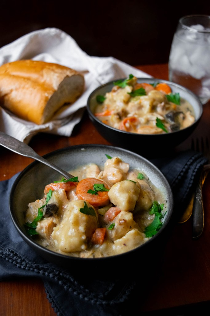 bowls of chicken and dumplings