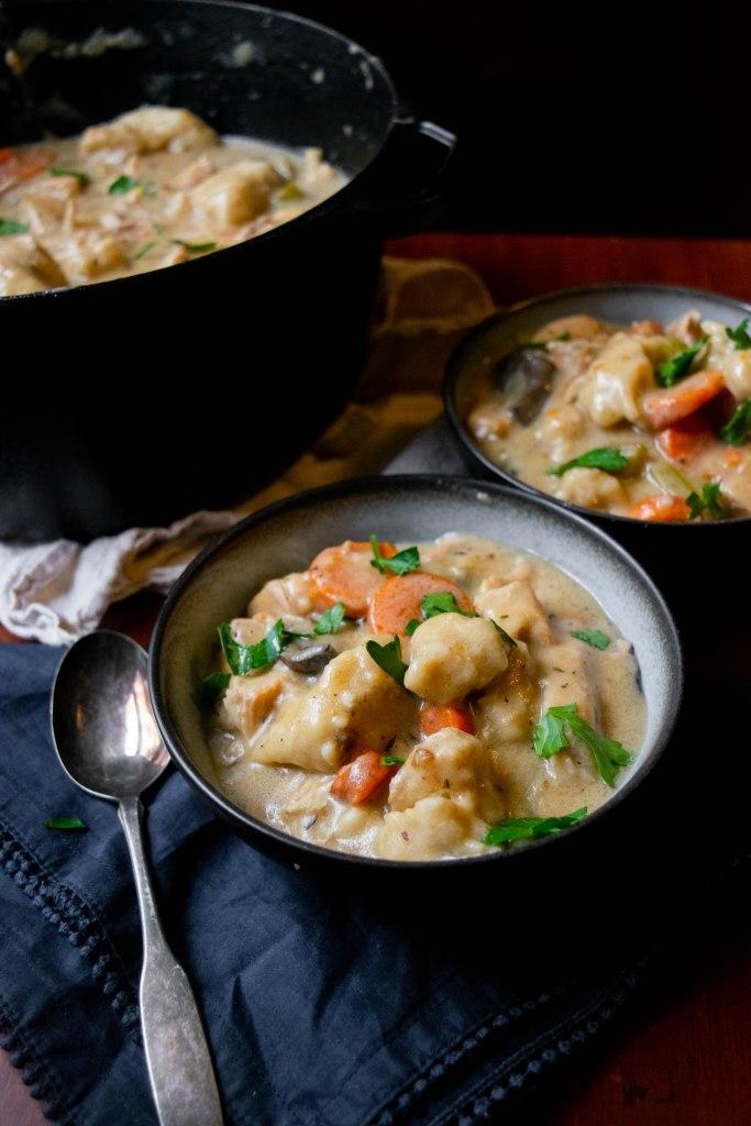 serving chicken and dumplings