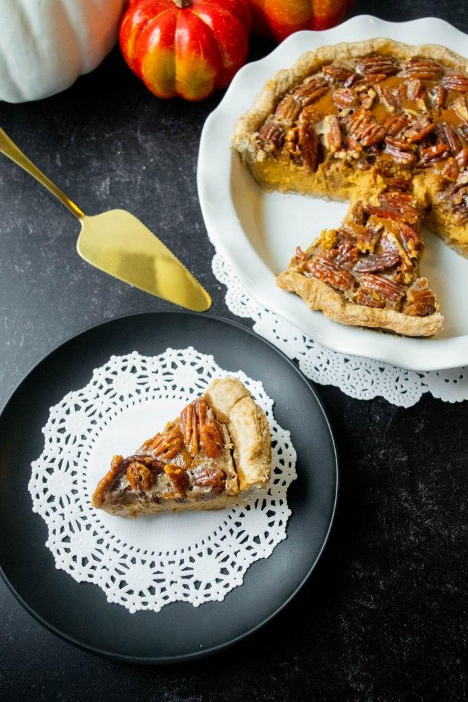 sliced pecan pumpkin pie