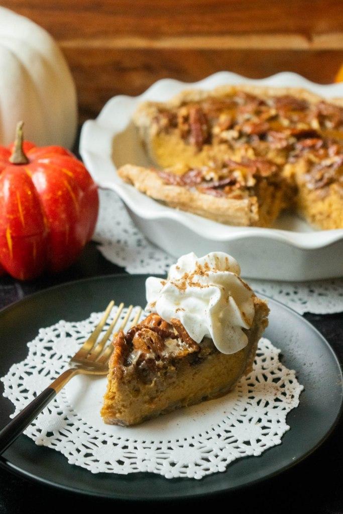 slice of pecan pumpkin pie