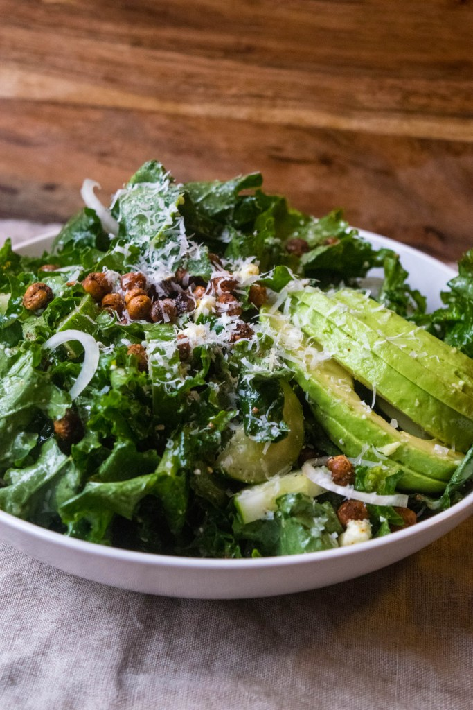 kale salad with avocado and parmesan