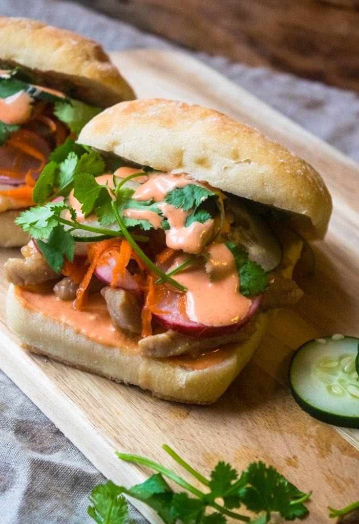 pork chop banh mi sandwich