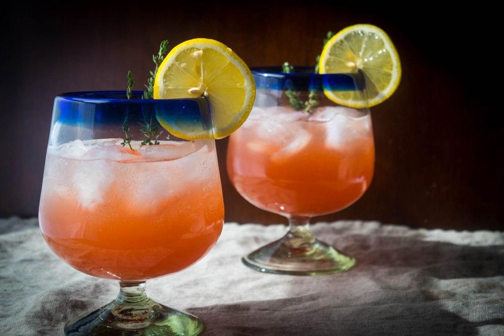 strawberry vodka thyme lemonade