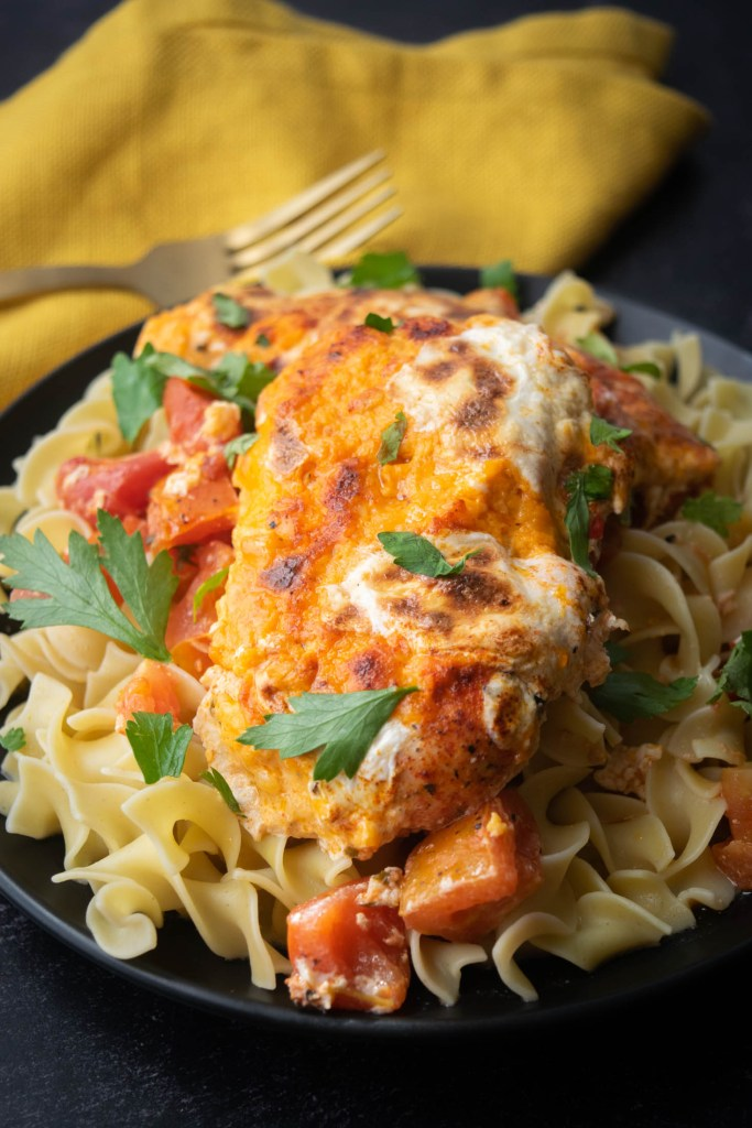 one pan pimento cheese chicken over egg noodles