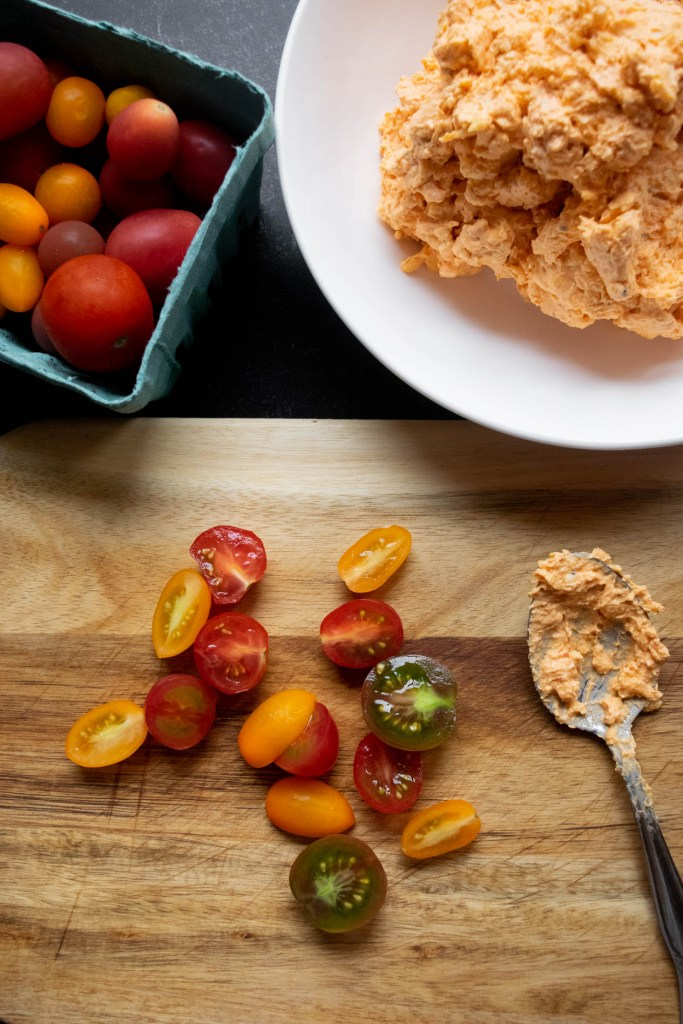 heirloom cherry tomatoes and pimento cheese