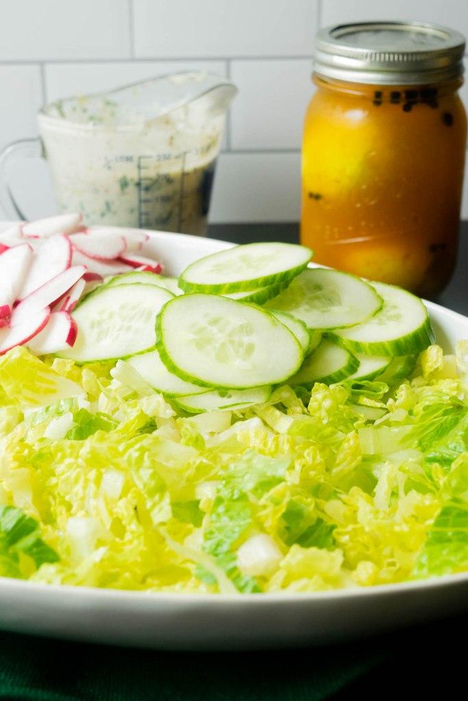 pickled eggs, vegetables and creamy yogurt dressing