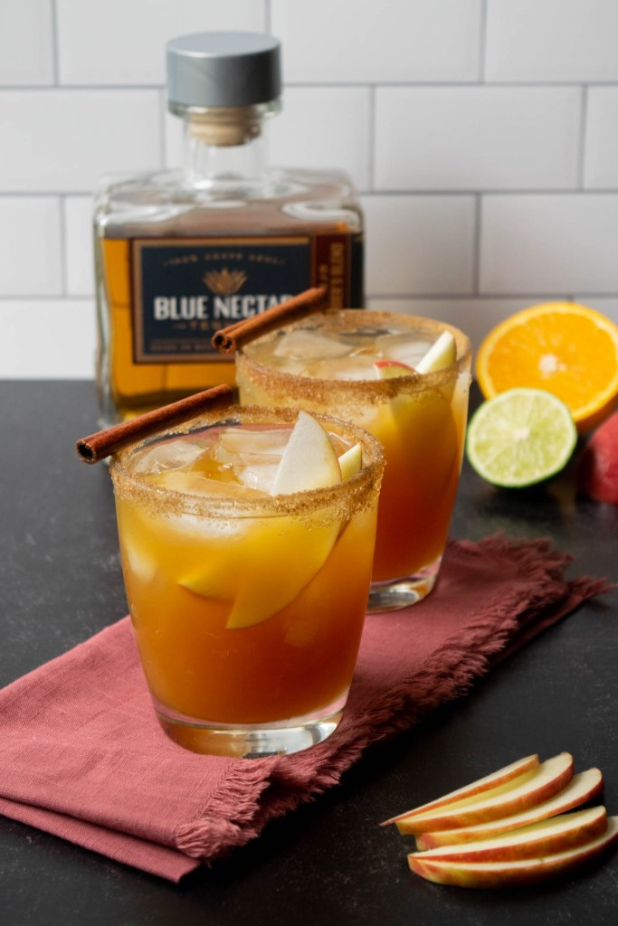 apple cider margaritas with blue nectar tequila