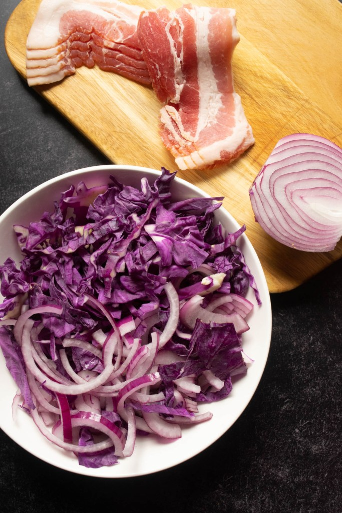 bacon, red cabbage, red onion
