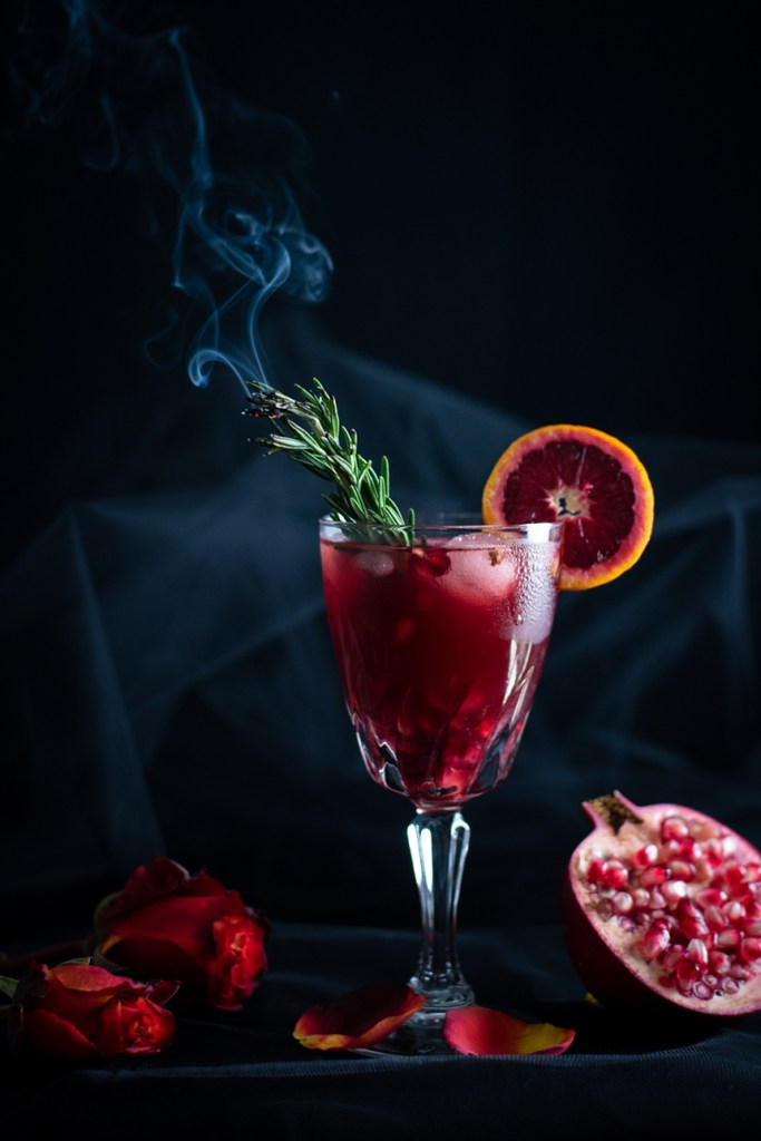 Tequila Moonrise with smokey rosemary