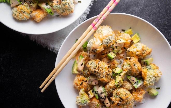 Broccoli and Sweet Potato Oven Tempura Sushi Bowls