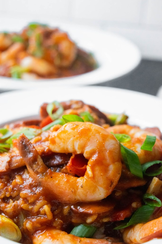 bowl of shrimp rice and adouille