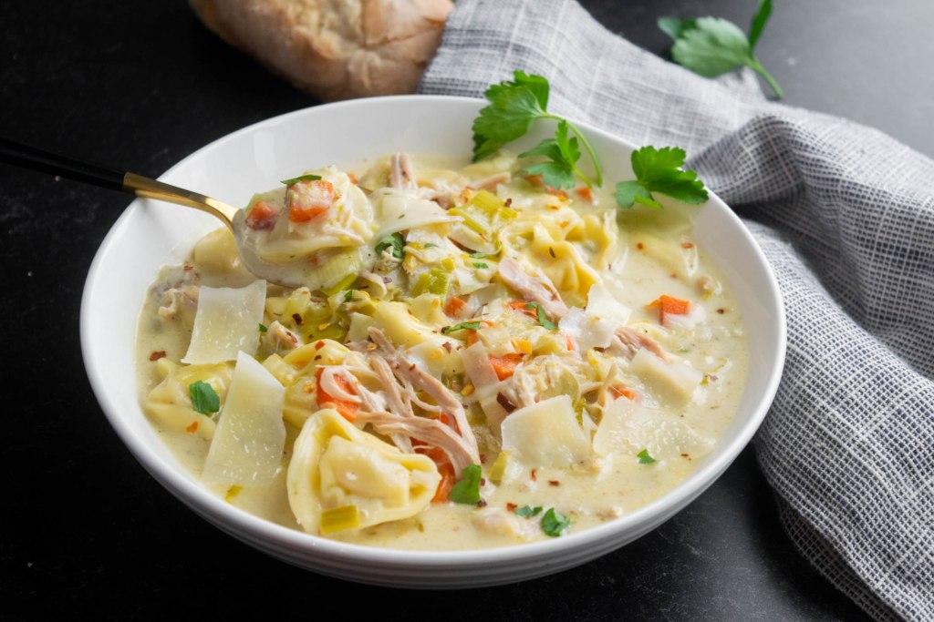 Chicken Tortellini Soup with Leeks