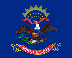 North Dakota State flag. Universities and colleges jobs.