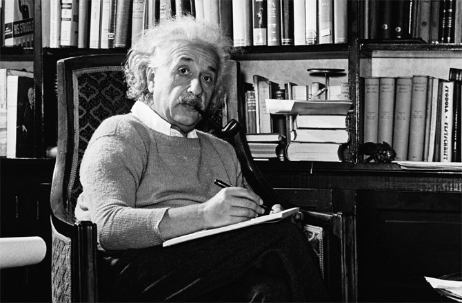 A picture of Einstein Writing