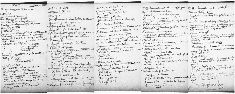 Edison's famous five-page to-do list. How long is yours? Source: EdisonPapers