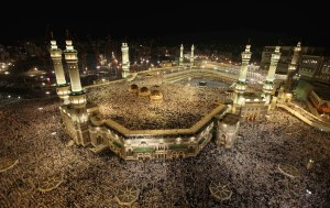 Pilgrims attended the annual Hajj at Mecca. The Kaaba is the black cube in the northeast quadrant of the image. Courtesy https://bestislamicimages.wordpress.com