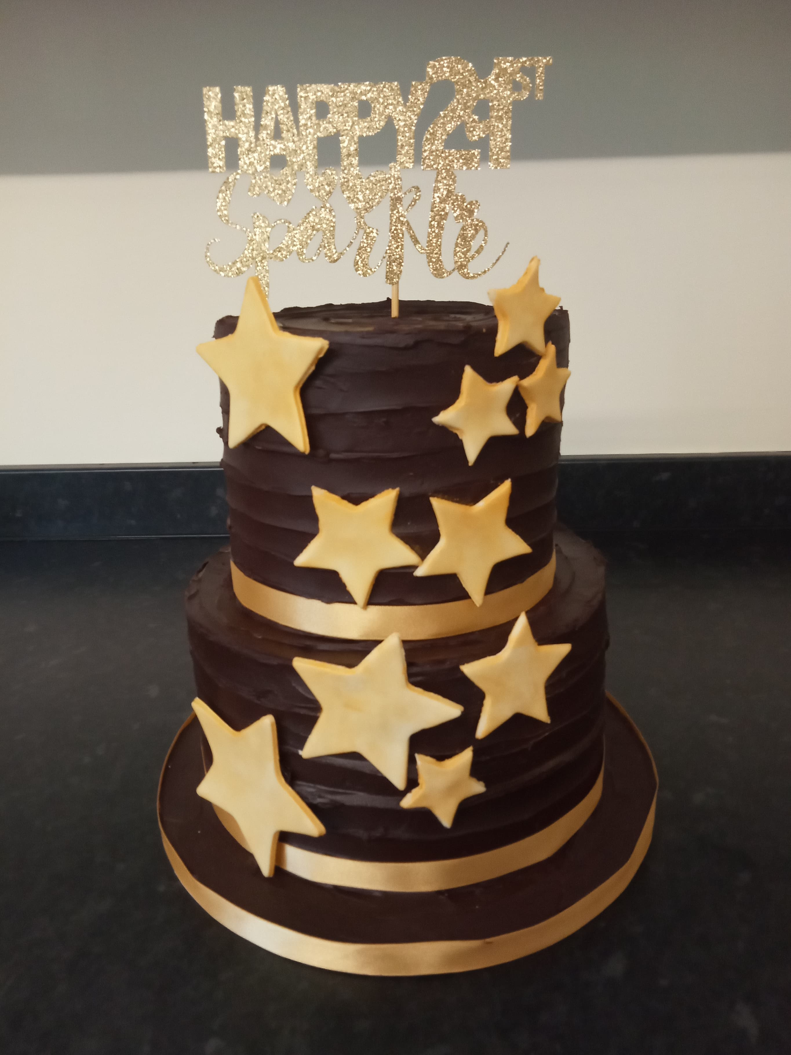 21st birthday two tier chocolate cake
