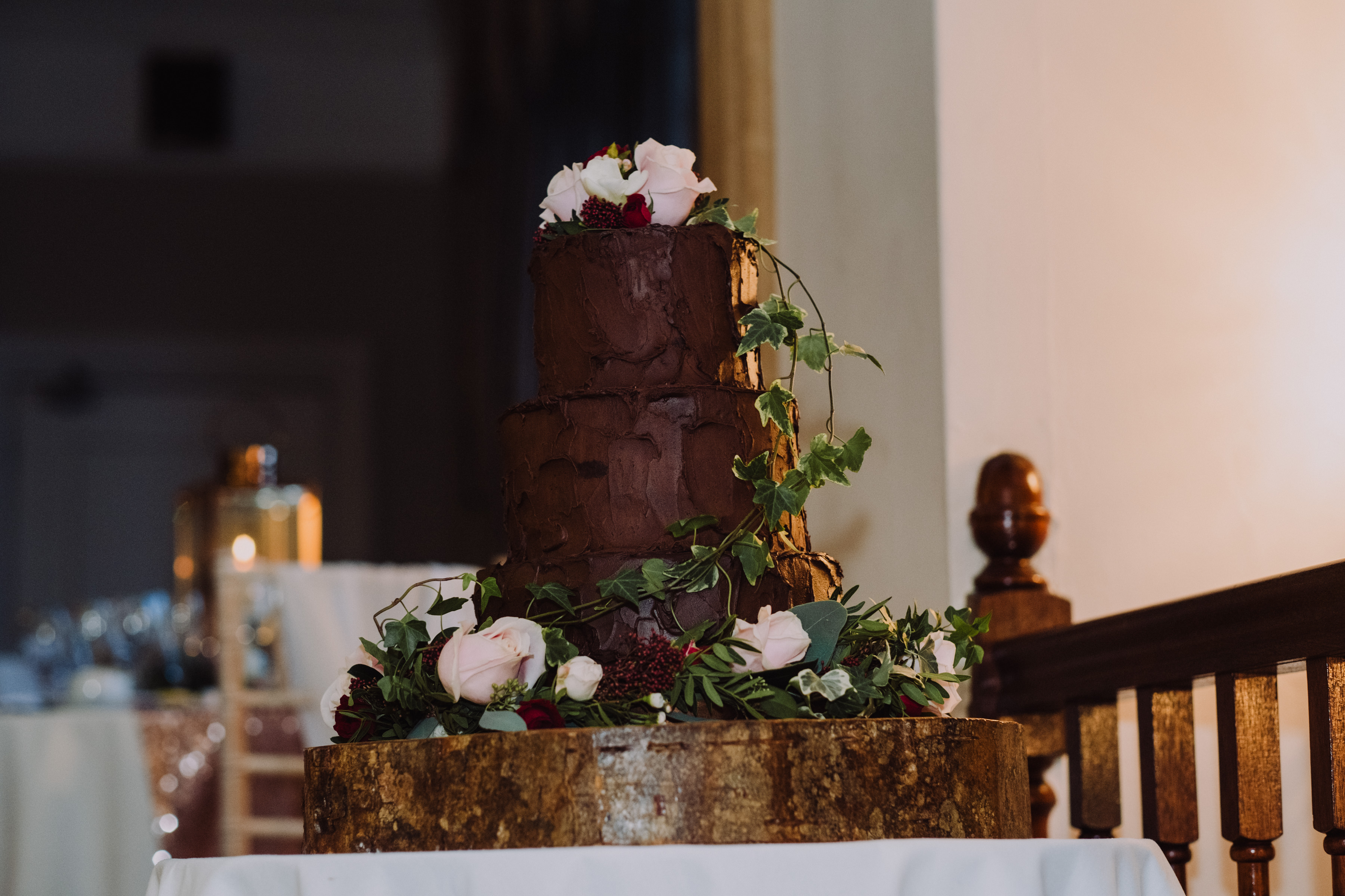 Dark chocolate ganached wedding cake