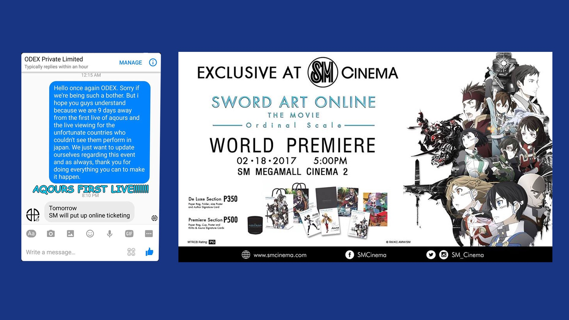 Prepare your wallets, SAO and Aqours fans—ODEX and SM have great news for you