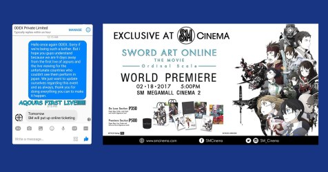 Prepare your wallets, SAO and Aqours fans — ODEX and SM have great news for you