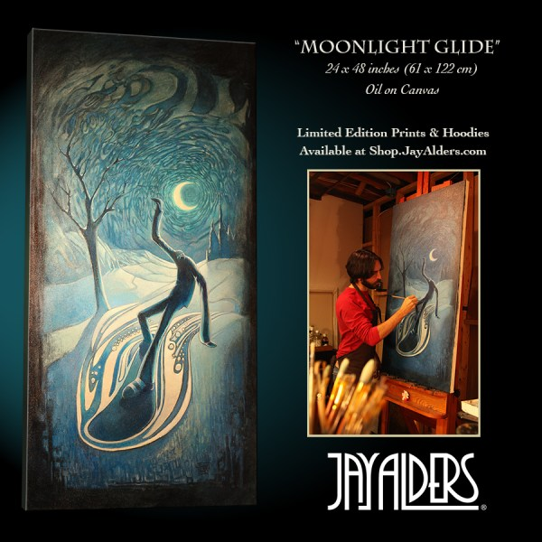 "Snowboarding Modern Art Painting ""Moonlight Glide"" by Jay Alders"