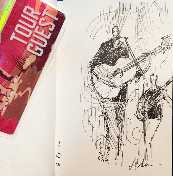 DMB Dave Matthews Band art sketch by Jay Alders from Camden NJ Show june 24 2016, drawn during dancing nancies