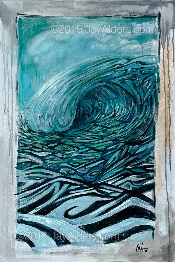 Three to the Left in Blue - surf art