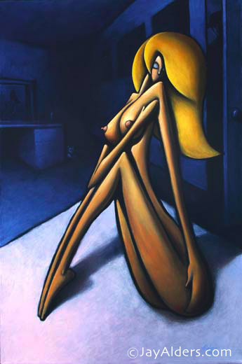 A Girl - Stylized Female Figurative Contemporary Art