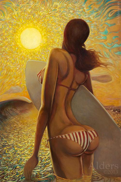 Vision of Surrender - surfer girl art