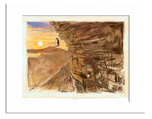 11x14 Matted Print - Rock Climbing Art - At Arm's Length