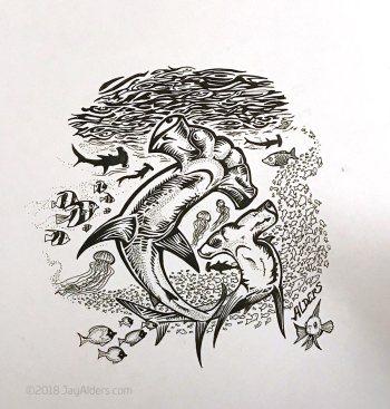 Hammerhead Shark Art by Jay Alders