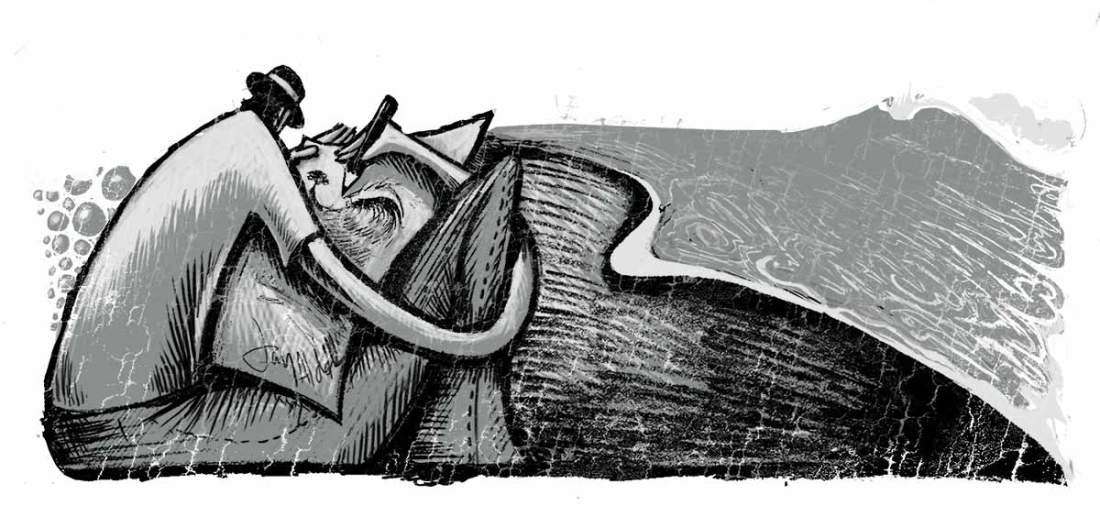 jay Alders artist sketching on beach illustration