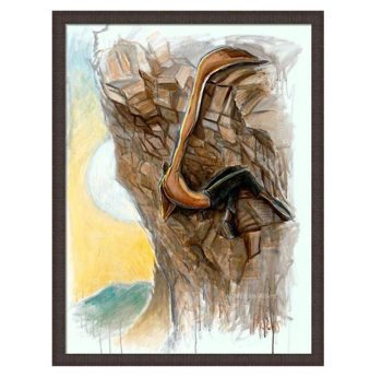 Rock climbing canvas art print Mile High