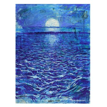 Sea Prince - Moon rise over the ocean art painting