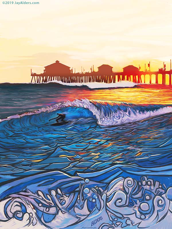 Huntington Beach Pier Surf art at sunset by Jay Alders - for slightly stoopid on the water music festival with 311