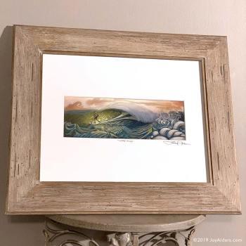 Surfer in a barrel art print by Jay Alders in wooden frame