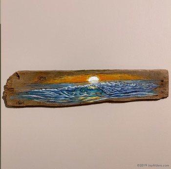 original ocean wave painting on driftwood