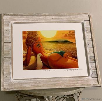 Beach Bikini babe art print by Jay Alders in barn wood Frame
