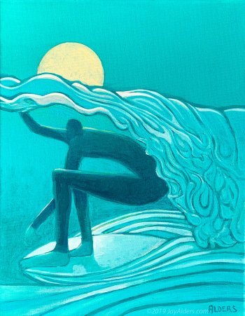 stylized surf painting in teal by Jay Alders