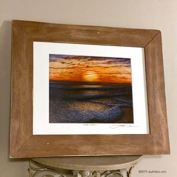 Ripple Effect - Beach Art painting at sunrise or sunset in distressed wooden frame by artist Jay Alders