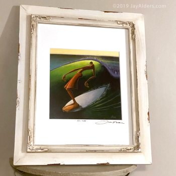 Surfer hanging ten framed art print