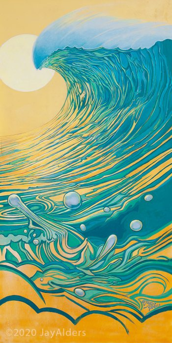 Yellow and Teel Peel Surf inspired modern art by Jay Alders