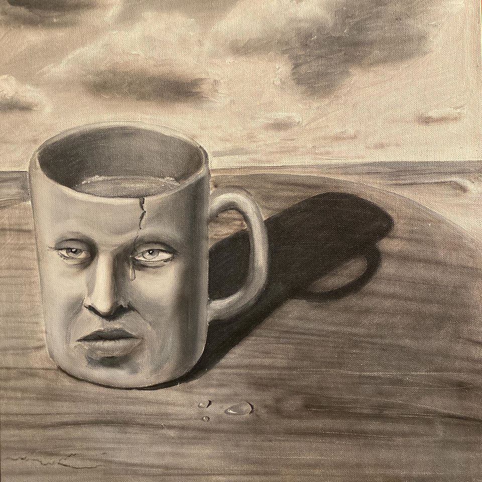art of a broken crying cup of depression and tears