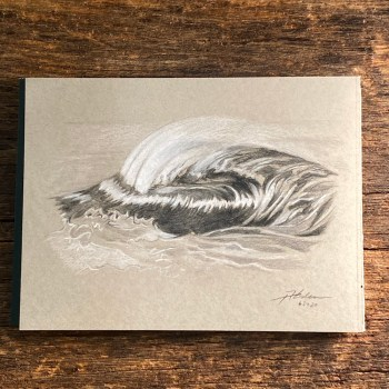 colored pencil ocean wave drawing by Jay Alders