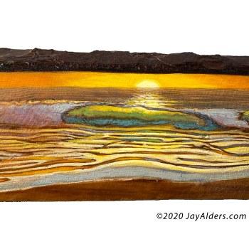 Shore break at the pavillion surfing artwork on wood