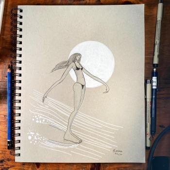surfer girl hanging ten artwork by Jay Alders
