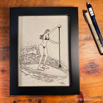 SUP Stand up Paddleboarding girl as stylized art work