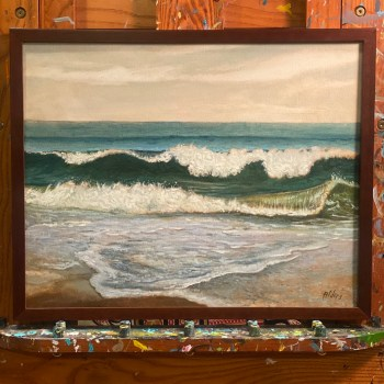 Shore Break At Spring lake, ocean beach painting by Jersey Shore artist Jay Alders
